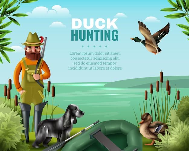 Ilustración de caza de pato