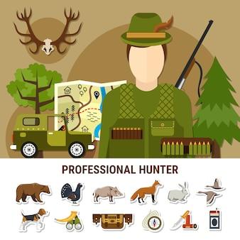 Ilustración de cazador profesional
