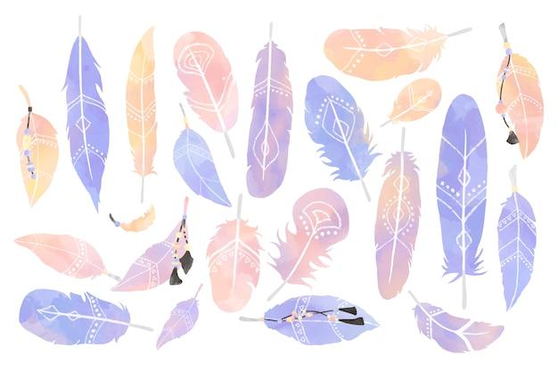 Ilustración del cazador de sueños decorado con plumas