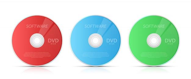 Ilustración de cd y dvd sobre fondo blanco