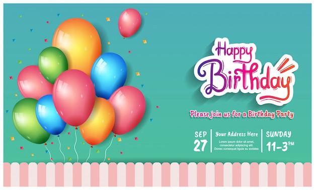 Ilustración de celebración de cartel de feliz cumpleaños con plantilla de cumpleaños