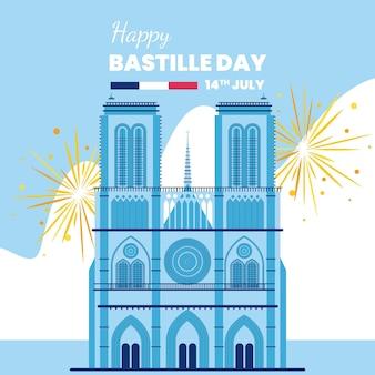 Ilustración de celebración del día de la bastilla
