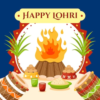 Ilustración de celebración de lohri