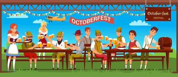 Ilustración de celebración de octoberfest gente bebiendo cerveza en el bar al aire libre restaurante camareras
