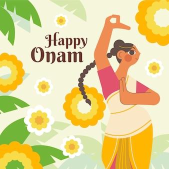 Ilustración de celebración de onam indio plano