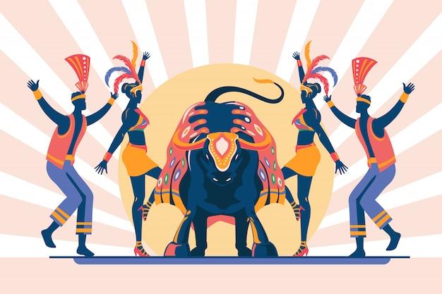 Ilustración de una celebración tradicional brasileña -