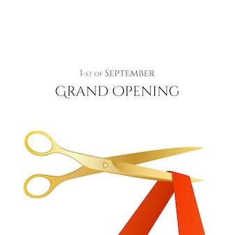 Ilustración de celebridades de gran inauguración con tijeras de oro y cinta roja