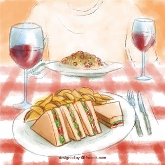 Ilustración de cena deliciosa pintada a mano