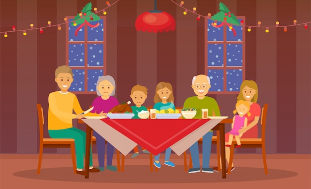Ilustración de cena de navidad en casa