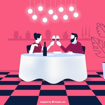 Ilustración cena pareja