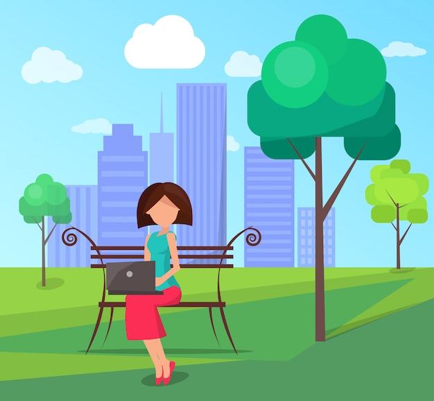 Ilustración de central city park con personas y gadgets