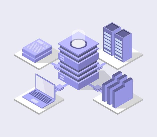 Ilustración del centro de base de datos isométrica