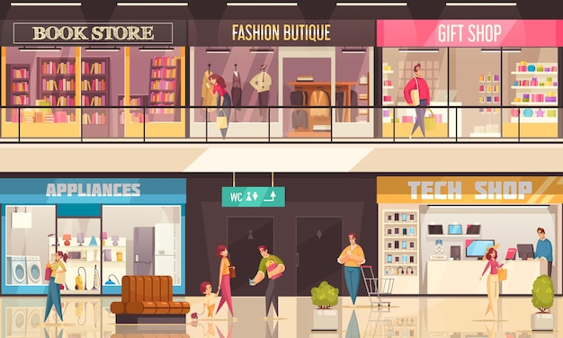 Ilustración de centro comercial con interior dentro del centro comercial, tiendas y boutiques de esquinas de compras