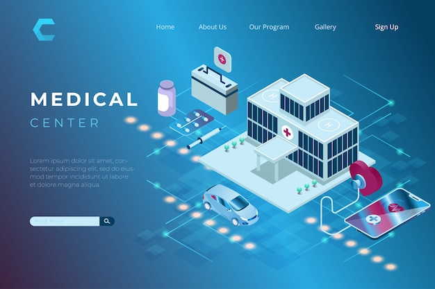 Ilustración del centro médico y de salud en estilo isométrico 3d