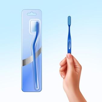 Ilustración de cepillo de dientes en mano y en embalaje.