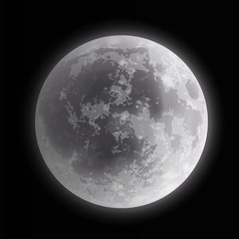 Ilustración de cerca de la luna llena sobre fondo de noche oscura