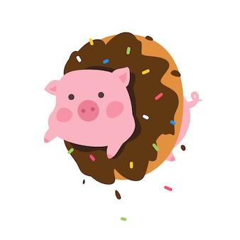 Ilustración de un cerdo de dibujos animados en un donut.