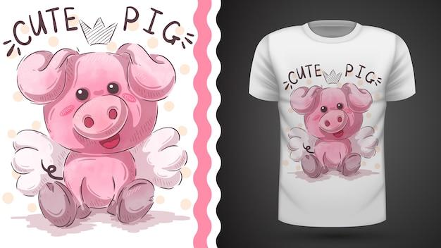 Ilustración de cerdo lindo para diseño de camiseta