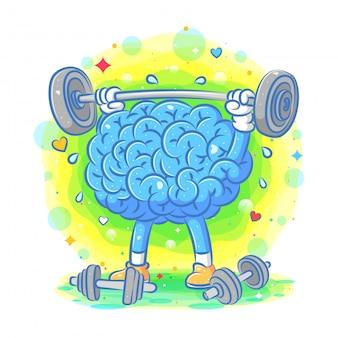 Ilustración de cerebro azul fuerte hacer gimnasio de ilustración
