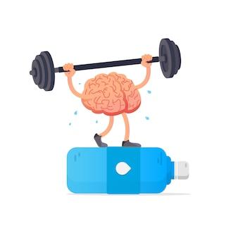 Ilustración del cerebro y botella de agua.