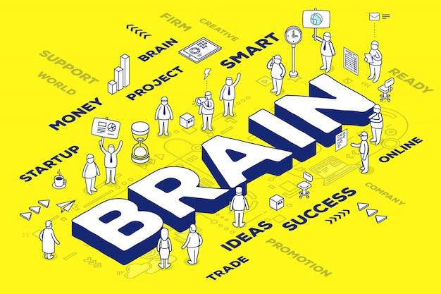Ilustración del cerebro de palabra tridimensional de negocios con personas y etiquetas sobre fondo amarillo con esquema.
