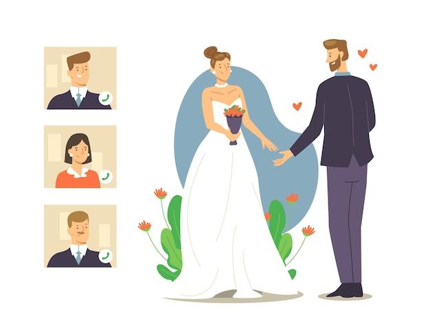 Ilustración de ceremonia de boda en línea