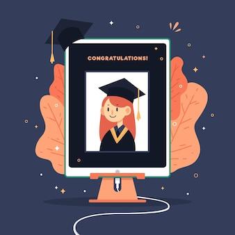 Ilustración de ceremonia de graduación virtual con chica