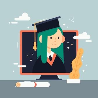 Ilustración de ceremonia de graduación virtual con estudiante