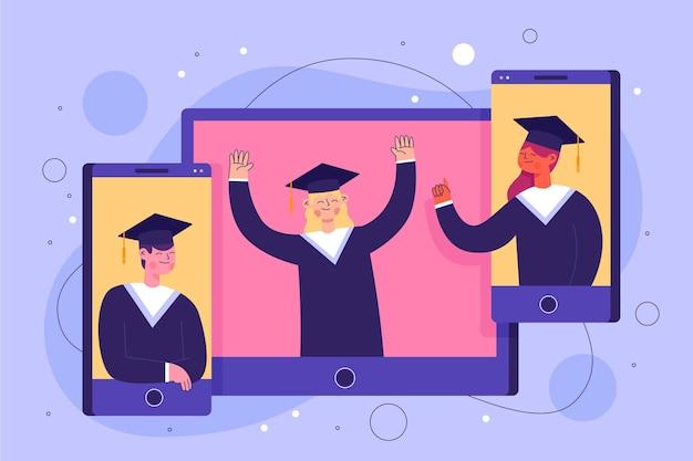 Ilustración de ceremonia de graduación virtual con graduados