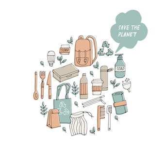 Ilustración cero residuos reciclar herramientas ecológicas colección de iconos de ecología