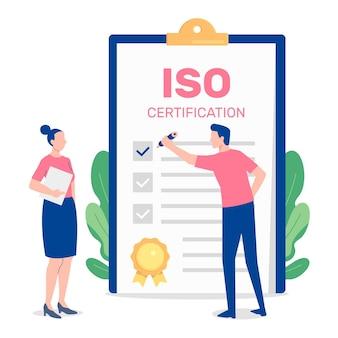Ilustración de certificación iso con personas y bloc de notas