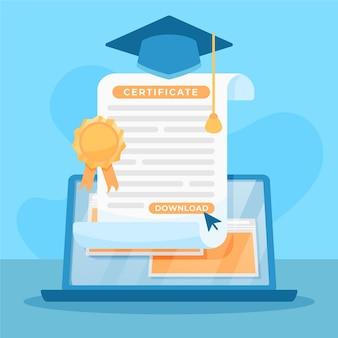 Ilustración de certificación en línea