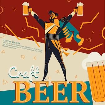 Ilustración de cerveza artesanal de cartel de anuncio retro para bar o pub con conce revolucionario