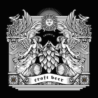 Ilustración de cerveza artesanal en estilo grabado