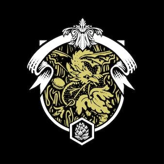 Ilustración de la cerveza dragón en estilo grabado.