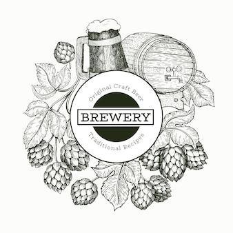 Ilustración de cerveza y lúpulo
