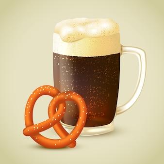 Ilustración de cerveza negra y pretzel
