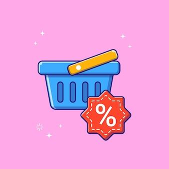 Ilustración de la cesta de la compra de venta de descuento. concepto de icono de promoción de descuento de cesta de compras aislado.
