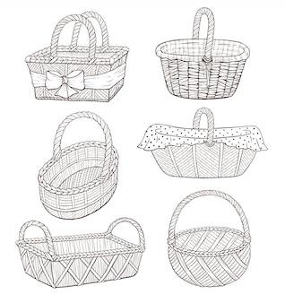 Ilustración de cesta dibujada a mano