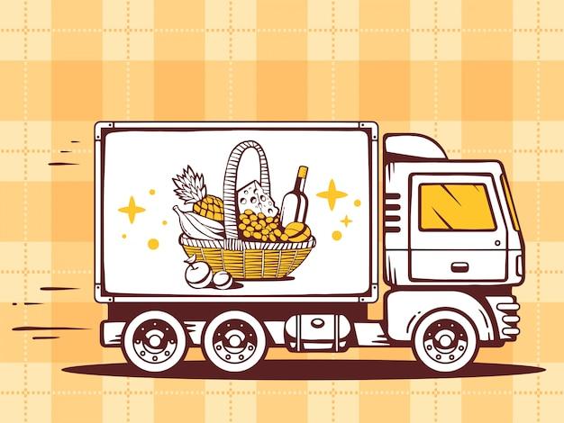 Ilustración de la cesta de entrega rápida y gratuita de camiones con alimentos al cliente sobre fondo de patrón.