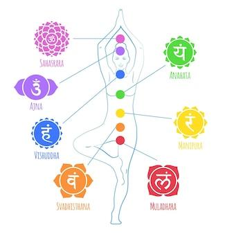 Ilustración de chakras del cuerpo