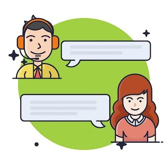 Ilustración de chat de consultoría al cliente