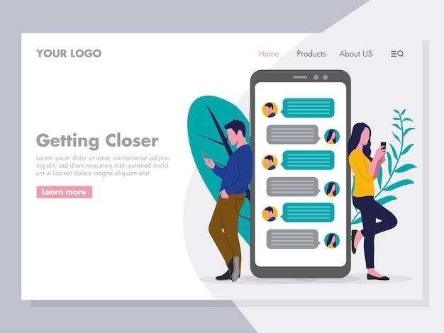 Ilustración de chat de pareja para la página de inicio