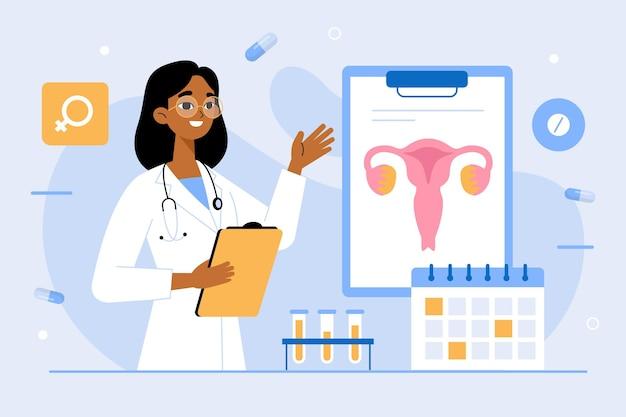 Ilustración de chequeo de ginecología