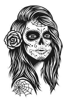 Ilustración de chica calavera en blanco y negro con rosa en pelos