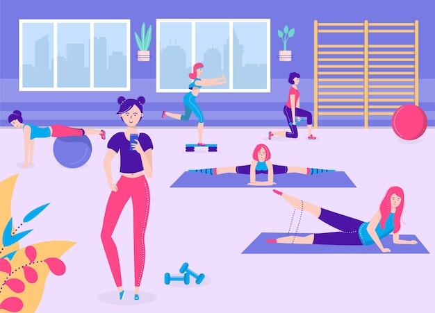 Ilustración de chica de fitness activo, personajes de mujer de grupo deportivo joven de dibujos animados en ropa deportiva hacen ejercicios deportivos en el gimnasio juntos