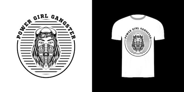 Ilustración chica gángster para diseño de camiseta
