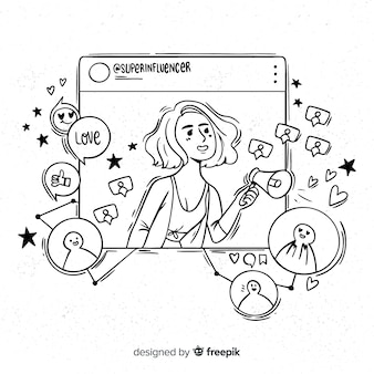 Ilustración chica influencer dibujado a mano