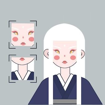 Ilustración de chica japonesa de pelo blanco