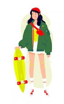 Ilustración de una chica de moda con un longboard. morena con una chaqueta verde y una gorra roja.